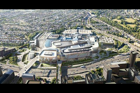 Aerial view of how Brent Cross Shopping Centre will look